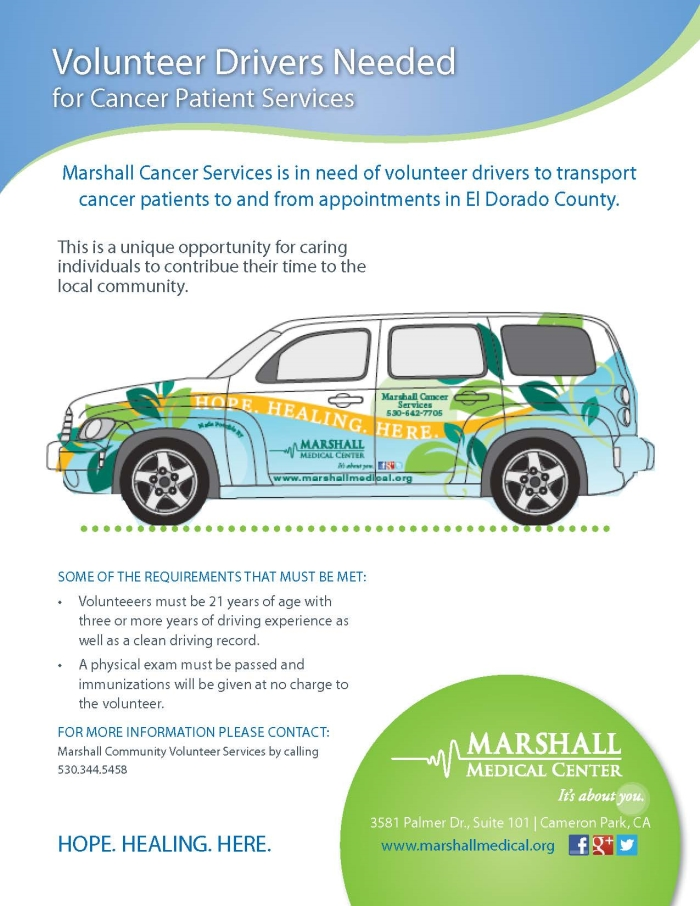 Volunteer Drivers Needed for Cancer Patient Services Flyer